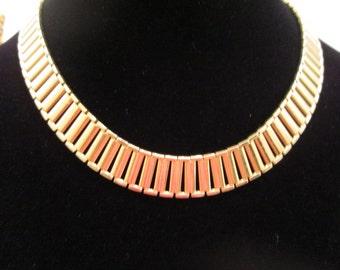 Vintage Gold Tone Link Metal Choker Necklace