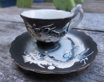 Vintage 1940s to 1950s Tiny Gray/Grey/Blue/White Demitasse Set Cup and Saucer Porcelain Dragon Asian Inspired