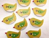 """Lemon Tweets: 7/8"""" (22mm) Bird Buttons - Set of 10 New / Unused Matching Buttons"""