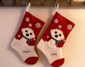 Maltese Dog Personalized Christmas Stocking by Allenbrite Studio
