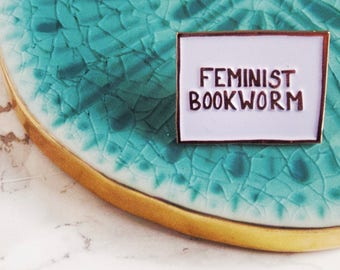 Feminist. Enamel Pin. Lapel Pins. Pin Flare. Book Worm. Book Nerd. Book Lover. English teacher Gift