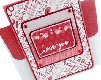 Valentine's Day Love Words Card with Matching Embellished Envelope