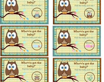 Baby Shower gender reveal game Scratch Cards, Baby Shower Scratch Off Tickets, Who's Got the Baby Scratch Cards, Owl Scratch Card, Set of 24