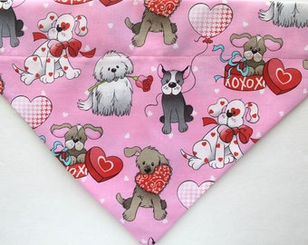 Pink Valentine's Day Dog over the collar Bandana / Scarf, Pink dogs hearts, dogs, pets, dog valentine bandana, heart bandana, pink