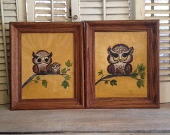 ON SALE Owl Art Owl Wall Hangings Owls