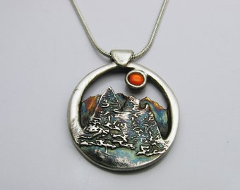 Handmade Silver Trees and Mountains with Fire Opal Cubic Zirconia Sun Necklace, Sruce Trees, Colorado Mountains, Colorado Souvenir, Colorful