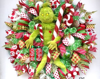 Grinch Christmas Wreath~Deco Mesh Wreath--Holiday Candy Cane Wreath-Christmas/Winter-Door/Wall Wreath~Colorful~Red, Green, Lime Green, White
