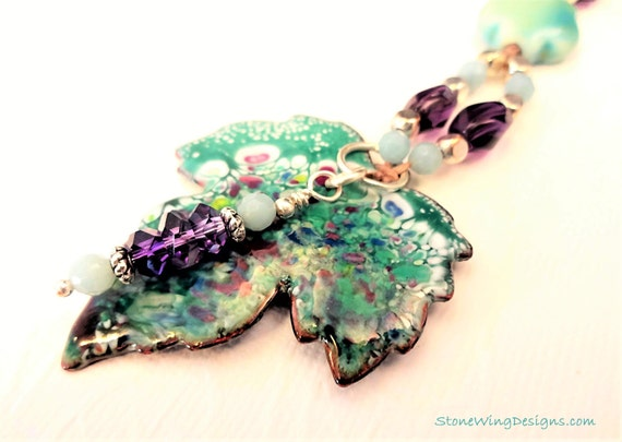 Enamel Leaf, Amethyst and Amazonite Necklace
