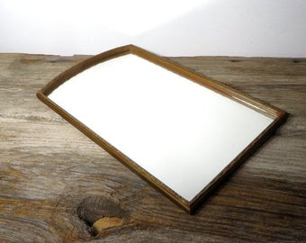 Vintage Wooden Framed Mirror Wall Accent Mirror Cottage Chic 1920s 1930s Home Decor