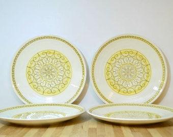 Midcentury Sierra Dinner Plates Max Schonfeld Design Ironstone Dishwasher Safe Yellow Brown Scroll Ribbed Pattern: Set of 4
