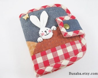 Women Wallet, Handmade Quilt Wallet, Bunny Wallet, Rabbit Wallet, Denim Wallet