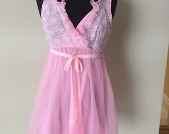 Pink babydoll peignoir set - chiffon nightgown - coffin babydoll