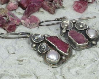 Silver earrings with rough rubies, fresh water pearls and handmade flowers Design 3