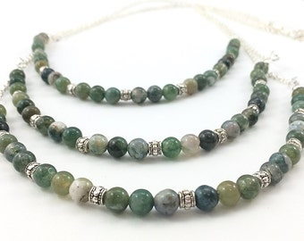 Moss Agate Necklace / Agate Necklace / Layered Necklace / Stone Necklace / Green Necklace / Moss Agate Jewelry / Agate Jewelry