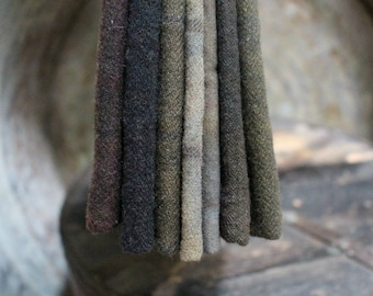Hand Dyed Wool Fabric, 7 Worn Black Fat Eighths for Primitive Rug Hooking