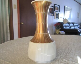 Gold Vase Rosenthal Studio Modulation by Tapio Wirkkala Mid Century Gold and White Ceramic Made in Germany Wedding Table