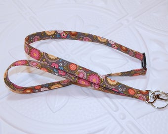 Breakaway Lanyard - ID Badge Lanyard -  Key Lanyard - Badge Holder Lanyard - Flower Print