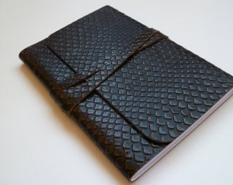 Leather Journal Leather Notebook Leather Book Travel Journal. Stylish two tone Snakeskin design Embossed onto the Leather.