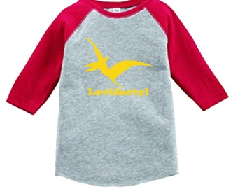 Pterodactyl Dinosaur Birthday Shirt-3/4 or long sleeve relaxed fit raglan baseball shirt - Any age and name - pick your colors!