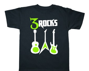 Guitar Rockstar Personalized Birthday Shirt - any age and name - pick your colors!
