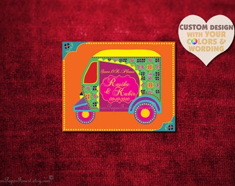 Boho Wedding Save The Date Card Design Auto RICKSHAW TUKTUK Indian Invitation Set Rustic Hindu Asian Thai Punjabi Sikh Indonesian African