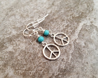 Peace Sign Earrings - Blue Turquoise Peace Sign Silver Plated Earrings - Peace on Earth