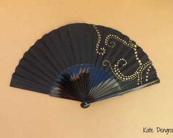 Black and Gold Dottilism Hand Fan SIZE OPTIONS Folding Wooden Flamenco Handheld Spanish from Spain Hand Painted by Kate Dengra