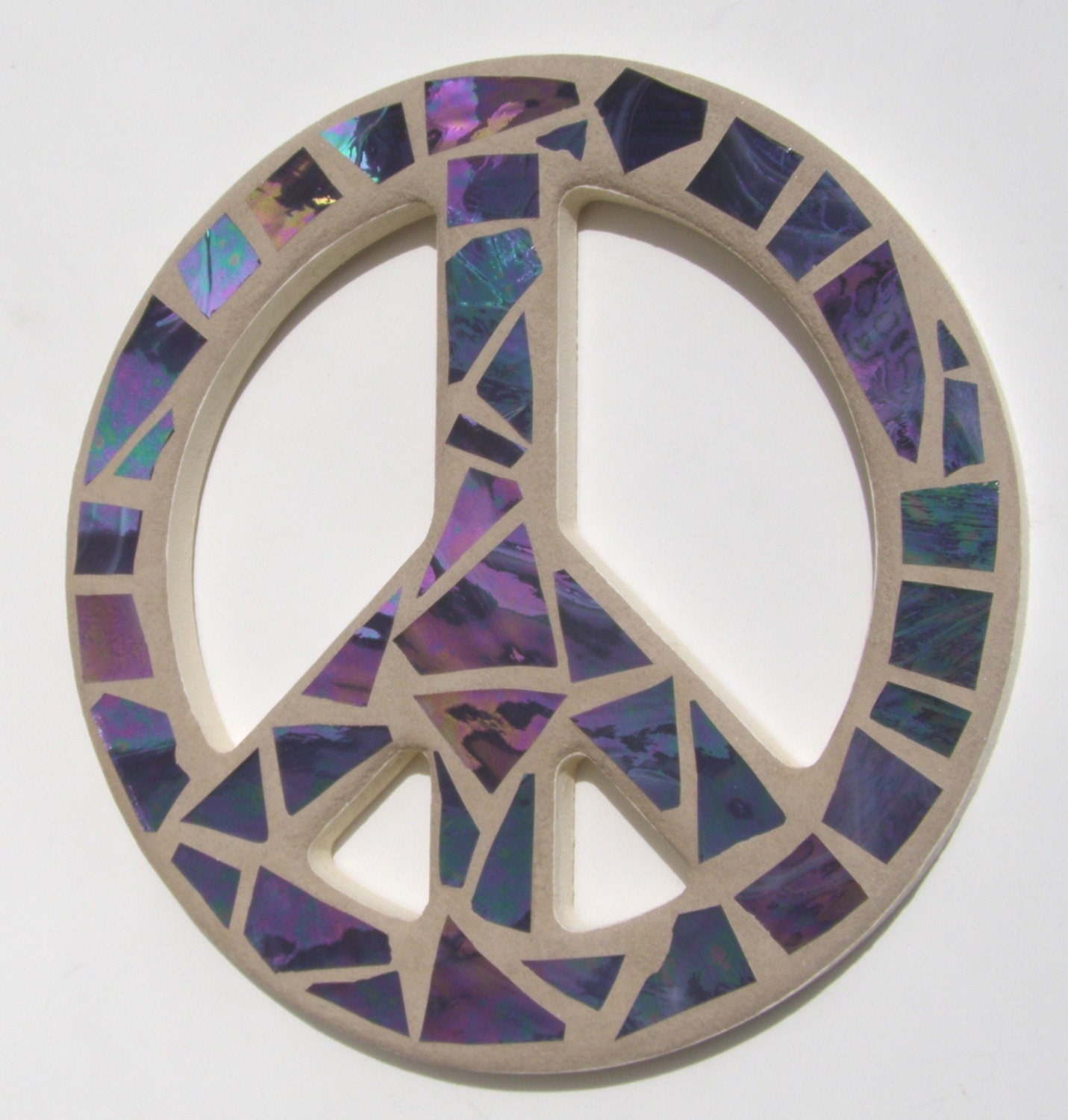 Peace Sign Wall Art Purple Mosaic Peace Sign Wall Decor Hippie