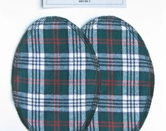 Elbow Patches - Green, Red, Black and White Plaid Cotton - Set of 2