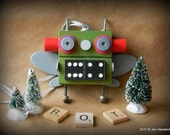Robot Ornament - Domino Bug Bot - Upcycled Ornament - Hanging Decor by Jen Hardwick