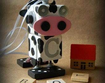 50% OFF - Robot Ornament - Cow Bot - C Bot - Upcycled Ornament - Hanging Decor by Jen Hardwick