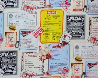 Diner Menus Fabric, 1950's Diner Menus, Open 24 Hours, Retro Menus, Todays Special, By the Yard, Exclusively Quilters, Cotton Fabric