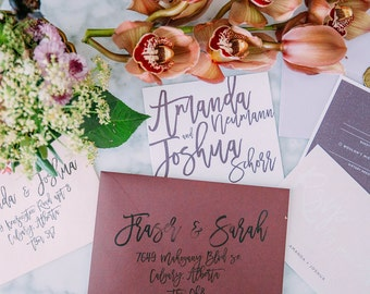 Modern Big Calligraphy Wedding Invite Suite Calgary Invitation