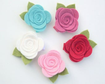 Girls Flower Hair Clip - 30+ COLORS - Felt Flower Hair Clips for baby, infant, toddler tween teen adult, 2 SIZES available