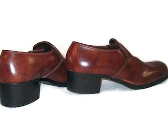 70s Mens Platform Shoes Slip On Shoes Vegan Friendly Shoes 1970s Disco Shoes Brown Platforms Brown Loafers Made in USA Platform Slip Ons