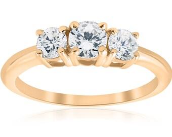 Yellow Gold 3 Stone Diamond Engagement Ring 1 Carat 10k Yellow Gold Round Brilliant Cut Three Stone Real Diamond Solitaire Jewelry