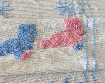 1940s Crib Spread White Chenille Three Bears Pink Blue 41 by 67 Inches 472b