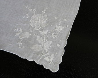 Vintage Hanky White Rose Applique Madeira Heirloom Stitching 12 by 13 Inches 564b