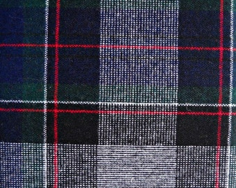 Navy Blue and Green Flannel Fabric, Wool/Polyester Blend, 1 yard cut