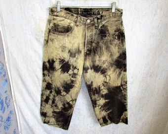"""32"""" Levis 501 Tie Dye Denim Jeans Shorts Capris Black"""