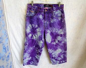 """32"""" Bluenotes Tie Dye Denim Jeans Shorts Capris Purple"""