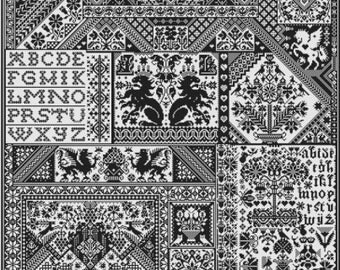 Death By Cross Stitch pattern by Long Dog Samplers at thecottageneedle.com Scandinavian Celtic dragon lions motif monochromatic