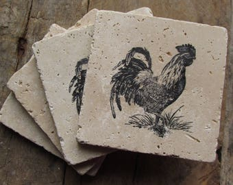 Natural stone coaster. Rooster Coasters.  Birthday Gift. Rustic Decor.  Set of Four Coasters. Gift.