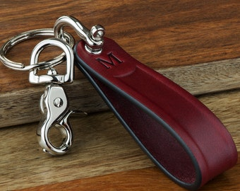 Valentines Gift For Him Personalized Leather Keychain Monogram Keychain - 4 Leather Colors Available - Made in USA