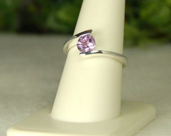 Amethyst Ring Size 9, Vibrant Purple, Amethyst Solitaire, Sterling Silver, February Birthstone, Natural Amethyst, Purple Amethyst