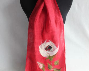 100% Linen Rose Scarf - hand dyed and needlefelted