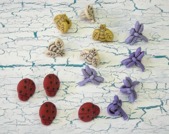 Whimsical Ladybugs Bees Dragonflies Plastic Buttons 14 ct