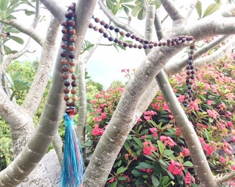 Colorful Tassel Necklace with Wood Beads