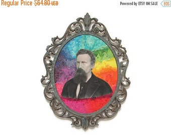 1-DAY SALE Rainbow Altered Art Portrait in Ornate Vintage Frame