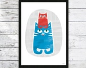Cats On Top Cat print -  Cat picture - Cats and Kittens - Cat lovers gift - Kids Gift